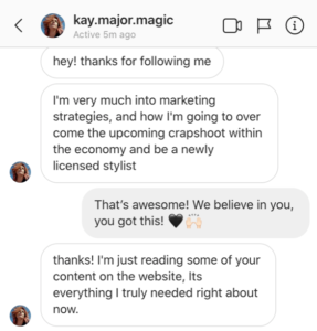 Example of a direct message to Beauty as a Business
