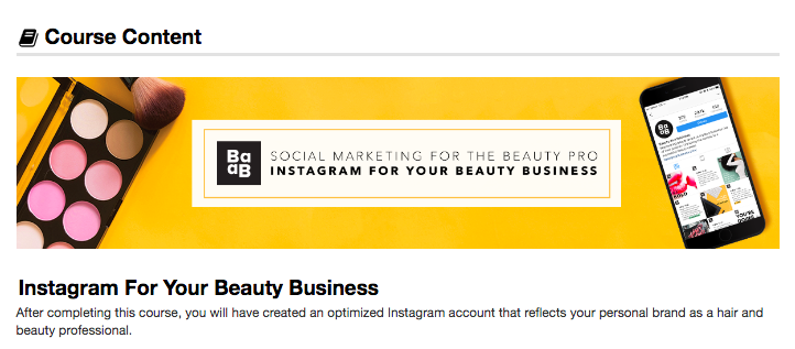 Screenshot of course content for Beauty as a Business.